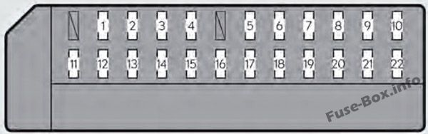 Instrument panel fuse box #1 diagram: Lexus GS 450h (2013, 2014, 2015, 2016, 2017)
