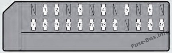 Trunk fuse box diagram: Lexus GS 450h (2013, 2014, 2015, 2016, 2017)
