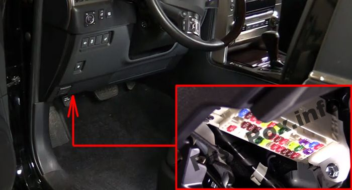 The location of the fuses in the passenger compartment: Lexus GX460 (2010-2017)