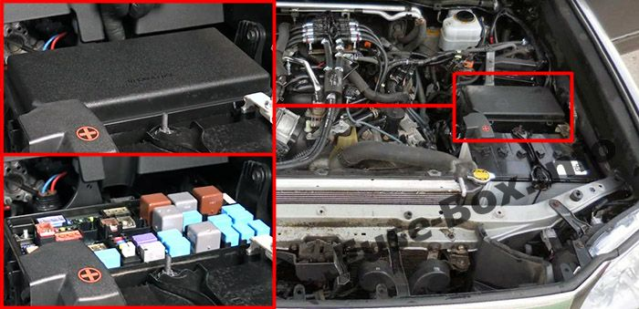The location of the fuses in the engine compartment: Lexus GX460 (2010-2017)