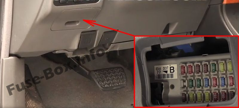 The location of the fuses in the passenger compartment: Lexus GX 470 (2002-2009)