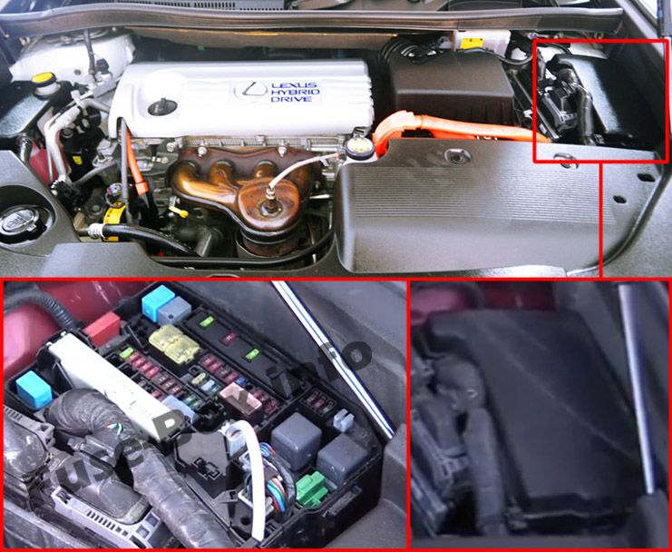 The location of the fuses in the engine compartment: Lexus HS 250h (2010-2013)