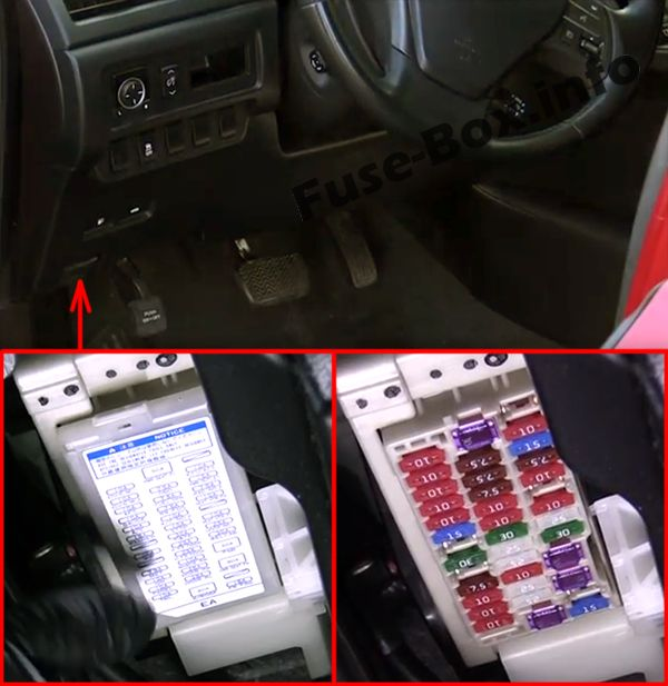The location of the fuses in the passenger compartment: Lexus HS 250h (2010-2013)