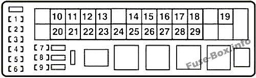 Under-hood fuse box diagram (LHD): Lexus IS 200d, IS 220d, IS 250d (2010, 2011, 2012, 2013)