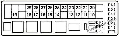 Under-hood fuse box diagram (RHD): Lexus IS 200d, IS 220d, IS 250d (2010, 2011, 2012, 2013)