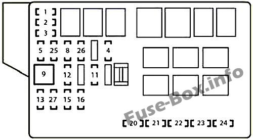 Under-hood fuse box diagram: Lexus IS 200d, IS 220d (2010, 2011, 2012, 2013)
