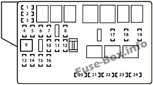 Under-hood fuse box diagram: Lexus IS 250d (2010, 2011, 2012, 2013)