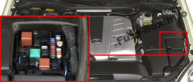 The location of the fuses in the engine compartment: Lexus LS 430 (2000-2006)