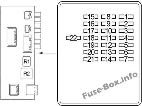 Instrument panel fuse box #1 diagram (RHD): Lexus LS 430 (2000, 2001, 2002, 2003, 2004, 2005, 2006)