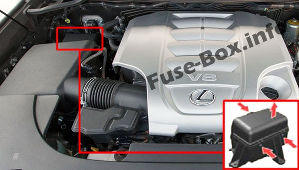 The location of the fuses in the engine compartment: Lexus LX 570 (2008-2015)