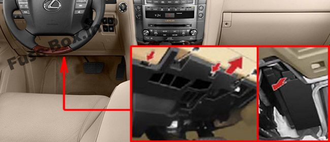 The location of the fuses in the passenger compartment: Lexus LX 570 (2008-2015)