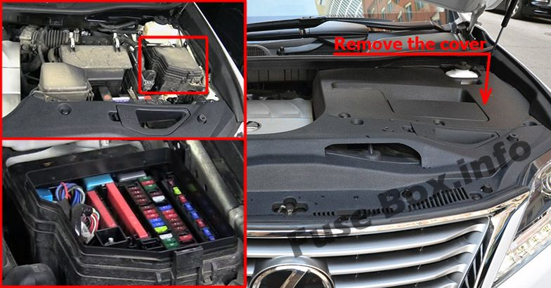 The location of the fuses in the engine compartment: Lexus RX 350 (2010-2015)