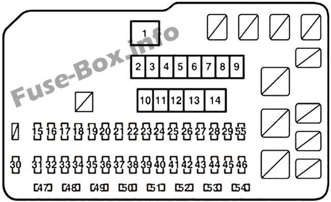 Under-hood fuse box diagram: Lexus RX 350 (2010, 2011, 2012, 2013, 2014, 2015)
