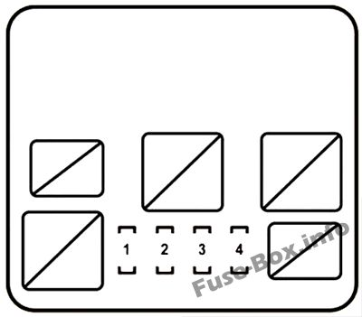 Under-hood fuse box #1 diagram: Lexus RX 450h (2010, 2011, 2012, 2013, 2014, 2015)