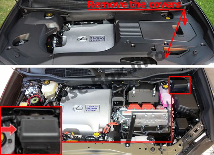 The location of the fuses in the engine compartment: Lexus RX 450h (2010-2015)