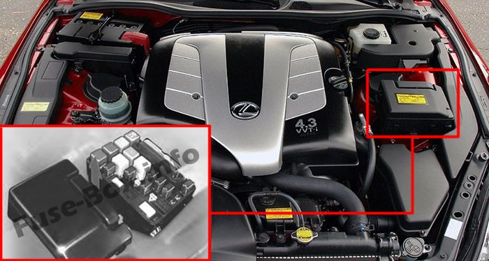 The location of the fuses in the engine compartment: Lexus SC 430 (2001-2010)