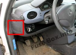 Instrument panel fuse box location: Mercedes-Benz A-Class (1997-2004)