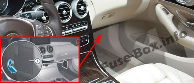 The location of the fuses in the passenger compartment: Mercedes-Benz C-Class (2015-2019-..)