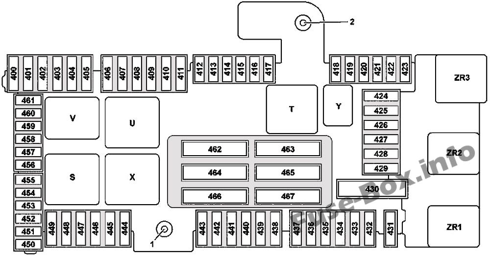 Trunk fuse box diagram (version 2: Mercedes-Benz C-Class (2015-2019-..)