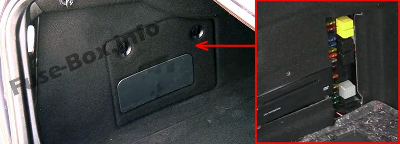 The location of the fuses in the trunk: Mercedes-Benz E-Class (2003-2009)
