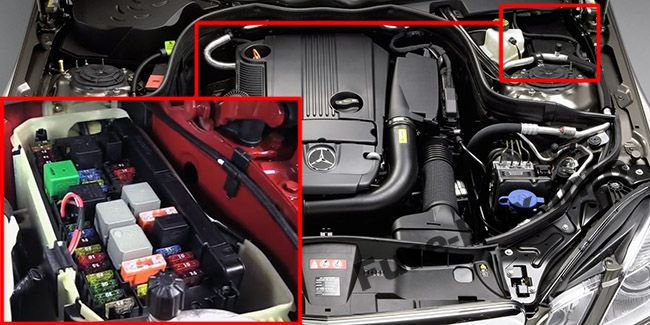 The location of the fuses in the engine compartment: Mercedes-Benz E-Class (2010-2016)