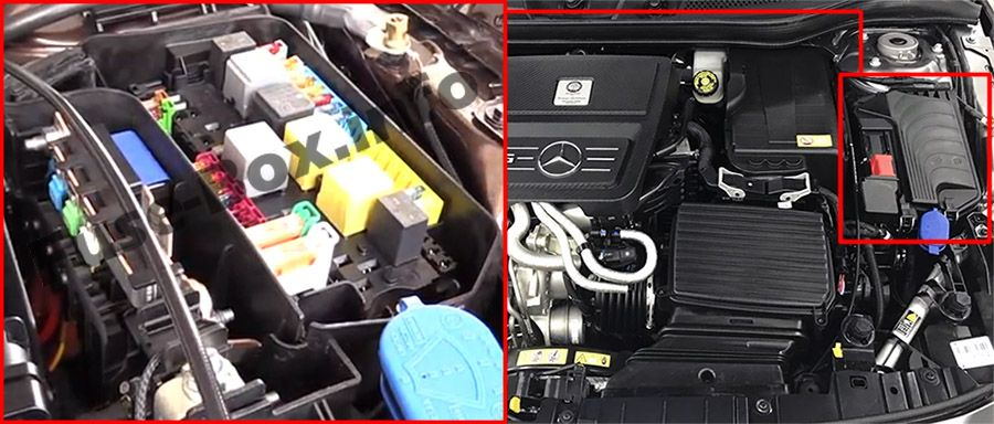 The location of the fuses in the engine compartment: Mercedes-Benz GLA-Class (2014-2019-..)