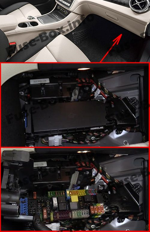 The location of the fuses in the passenger compartment: Mercedes-Benz GLA-Class (2014-2019-..)