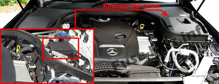 The location of the fuses in the engine compartment: Mercedes-Benz GLC-Class (X253/C253; 2015-2019..)