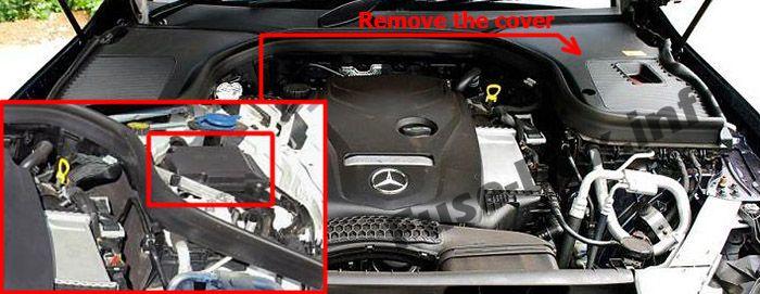 Die Position der Sicherungen im Motorraum: Mercedes-Benz GLC-Klasse (X253 / C253; 2015-2019 ..)