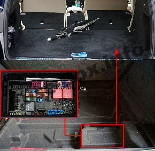Die Position der Sicherungen im Kofferraum: Mercedes-Benz GLC-Klasse (X253 / C253; 2015-2019 ..)