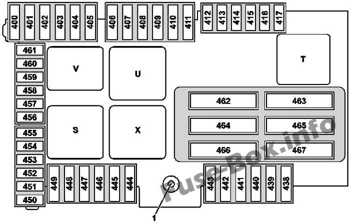 Kofferraum-Sicherungskasten-Diagramm (Version 1): Mercedes-Benz GLC-Klasse (2015-2019- ..)