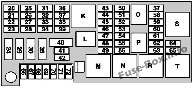 Trunk fuse box diagram (Up to 31.05.2006): Mercedes-Benz M-Class (2006-2011)