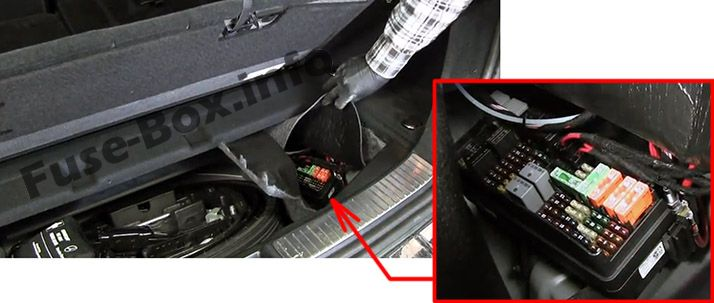 The location of the fuses in the trunk: Mercedes-Benz R-Class (2005-2013)