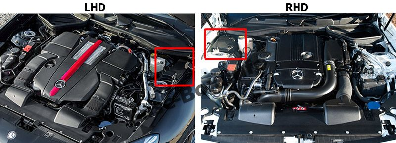The location of the fuses in the engine compartment: Mercedes-Benz SLK/SLC-Class (2012-2018)