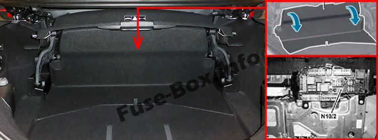 The location of the fuses in the trunk: Mercedes-Benz SLK/SLC-Class (2012-2018)
