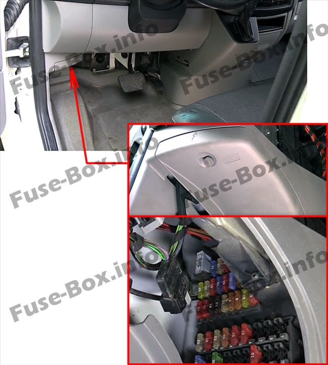 The location of the fuses in the dashboard: Mercedes-Benz Sprinter (2006-2018)