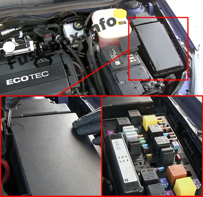 The location of the fuses in the engine compartment: Saturn Astra (2008, 2009)