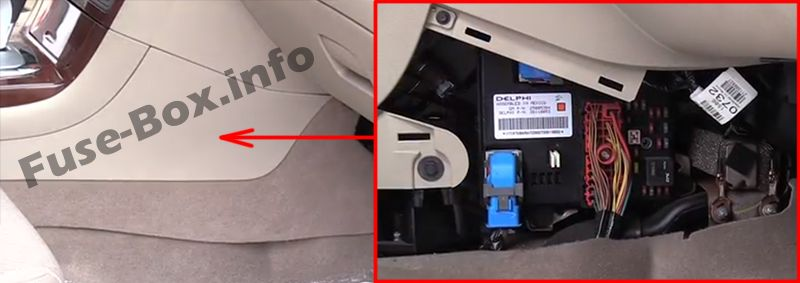 The location of the fuses in the passenger compartment: Saturn Aura (2006, 2007, 2008, 2009)
