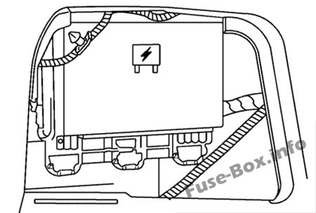 The location of the fuses in the trunk: Saturn Aura (2006, 2007, 2008, 2009)