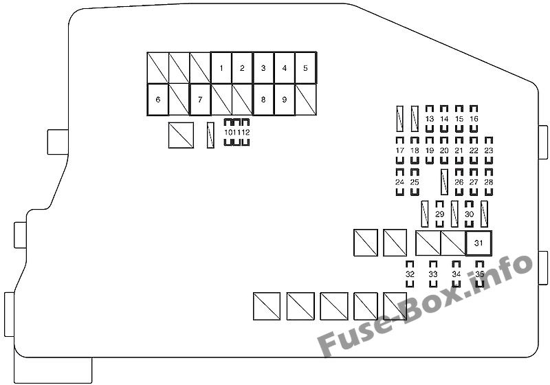 Under-hood fuse box diagram: Scion tC (2011, 2012, 2013, 2014, 2015, 2016)