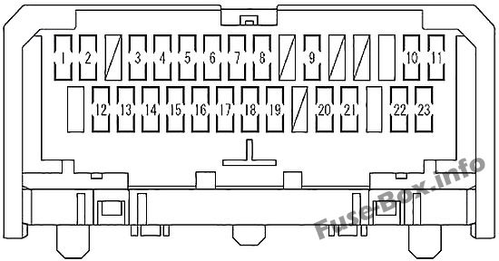 interior fuse box diagram: scion xb (2007-2015)