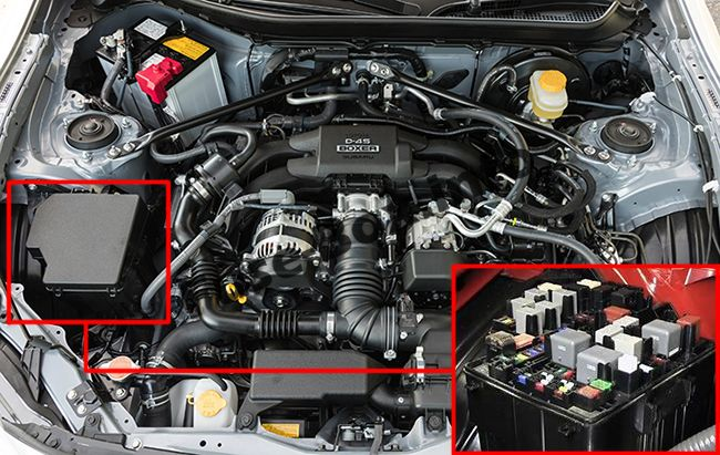The location of the fuses in the engine compartment: Toyota 86 / GT86 (2012-2018)