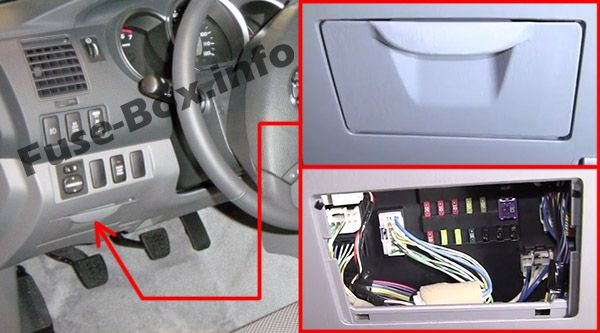 The location of the fuses in the passenger compartment: Toyota Tacoma (2005-2015)