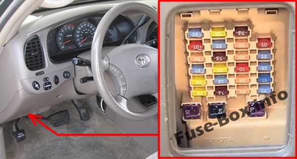 The location of the fuses in the passenger compartment: Toyota Tundra (2000, 2001, 2002, 2003, 2004, 2005, 2006)