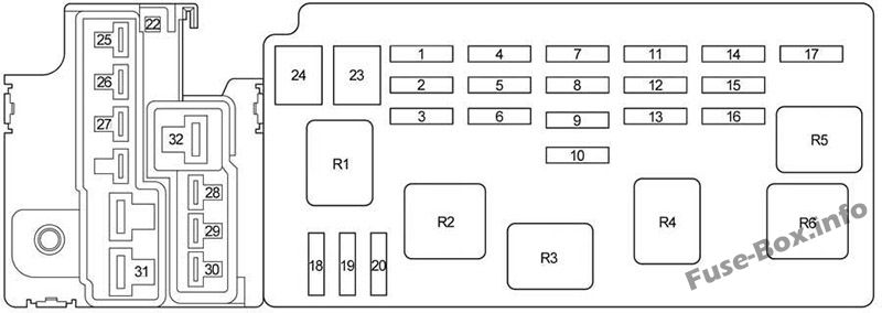 Under-hood fuse box #2 diagram: Toyota Tundra (Double Cab) (2005, 2006)