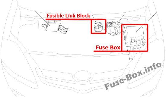 Fuse Box Diagram Toyota Yaris  Vitz  Belta  Xp90  2005