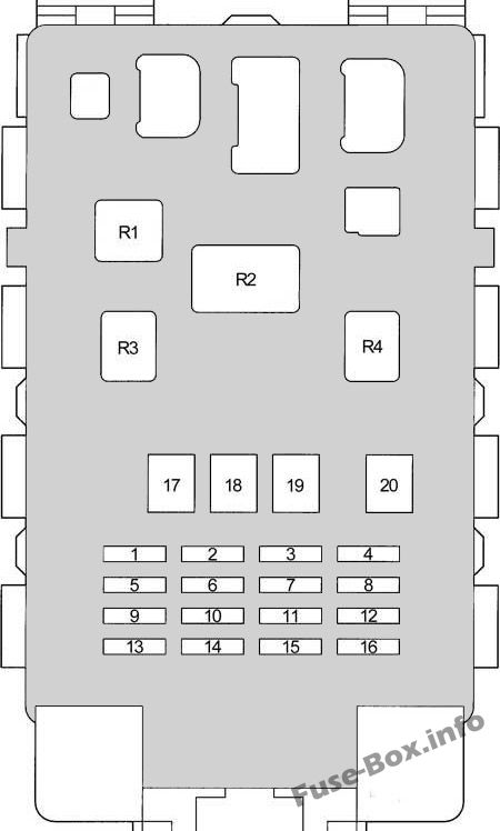 Instrument panel fuse box diagram: Toyota Yaris / Echo / Vitz / Yaris Verso / Echo Verso (1999-2005)