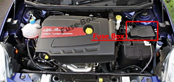 The location of the fuses in the engine compartment: Alfa Romeo Giulietta (940; 2014, 2015, 2016, 2017, 2018)