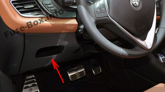 The location of the fuses in the passenger compartment: Alfa Romeo Giulietta (940; 2014, 2015, 2016, 2017, 2018)