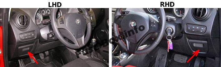 The location of the fuses in the passenger compartment: Alfa Romeo MiTo (2014, 2015, 2016, 2017)
